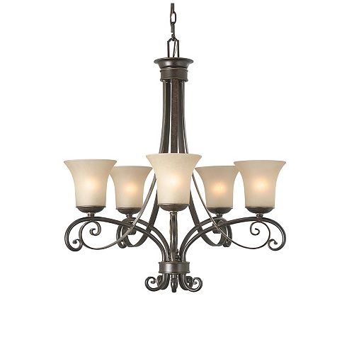 Hampton Bay Essex 5 Light Chandelier 26 Inch - Aged Black with Tea Stained Glass Shades