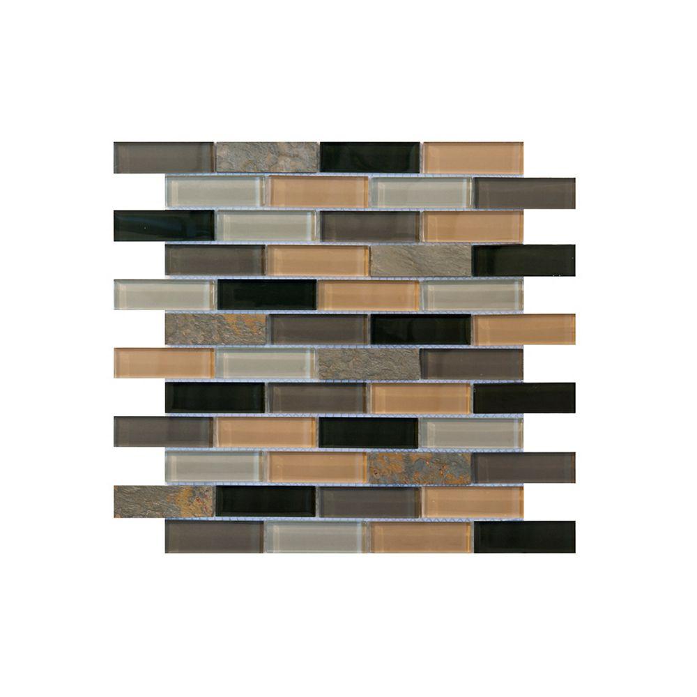 """Jeffrey Court Carreaux muraux 11-5/8 po x 11-5/8 po en mosaïque de verre et de pierre de style """" Harbor Bay """""""