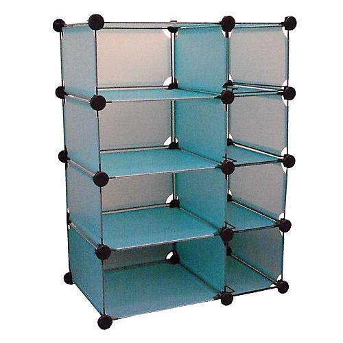 """Système modulaire cubique de stockage de couleur bleue 32.5"""" l. x 14.75"""" p. x 32"""" h."""