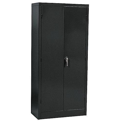 """Cabinet en acier de couleur crème à assemblage rapide de couleur noire 36"""" l. x 18"""" p. x 72"""" h."""