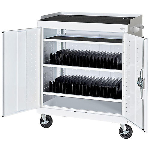 36 in. W x 24 in. D x 43 in. H Mobile Tablet Storage Cart with Power Charge System