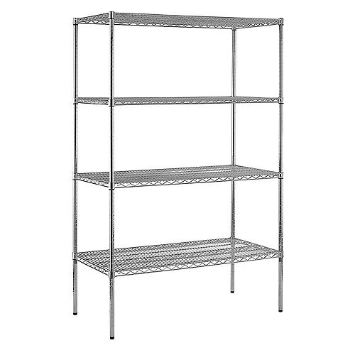 74 in. H x 48 in. W x 24 in. D 4-Shelf Chrome Wire Commercial Shelving Unit
