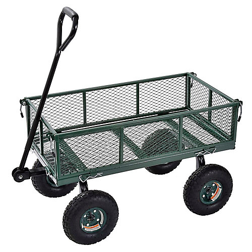3 cu. ft. 18 in. W Mesh Wire Utility Cart with Removable Sides