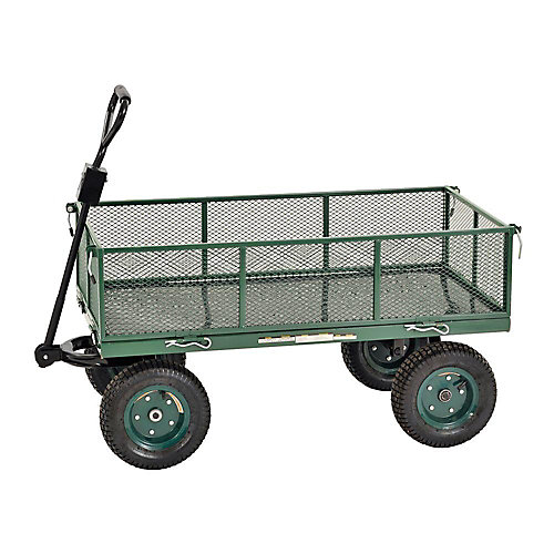 5 cu. ft. 24 in. W Mesh Wire Utility Cart with Removable Sides