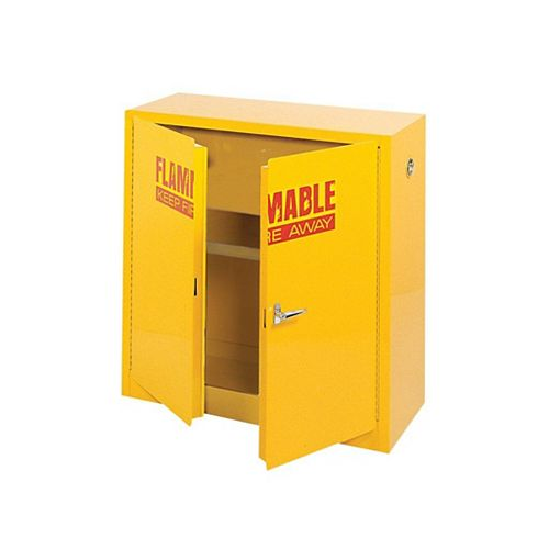 Edsal 44-inch H x 43-inch W x 18-inch D Steel Freestanding Flammable Liquid Safety Cabinet in Yellow