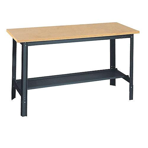 """Établi commercial à hauteur réglable avec surface en bois 60"""" l. x 24"""" p."""