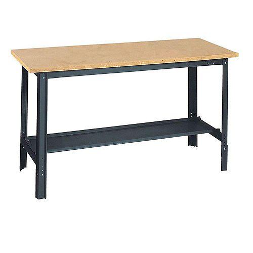34-inch H x 60-inch W x 24-inch D Wooden Top Workbench with Shelf