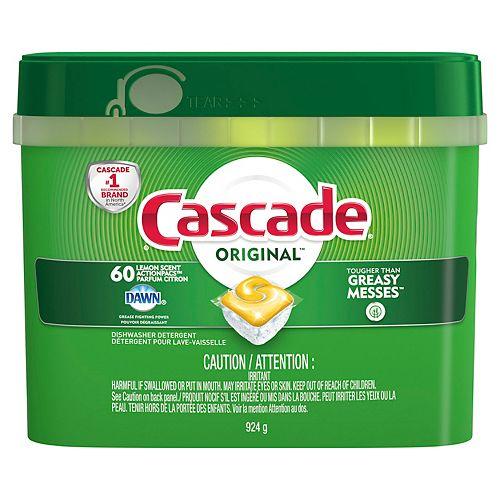 Détergent pour lave-vaisselle Cascade ActionPacs, Parfum citron, 60 unités