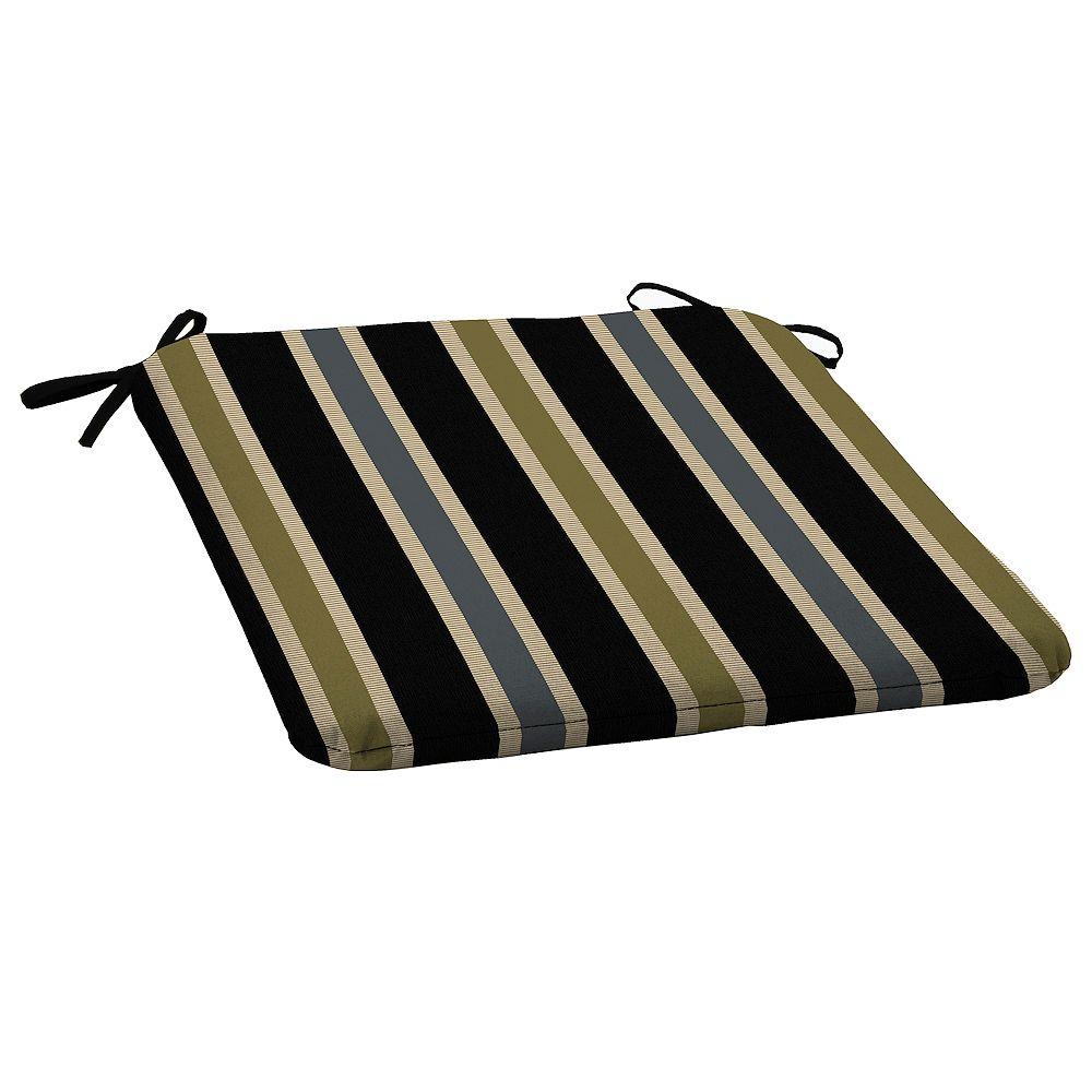 Hampton Bay Outdoor Seat Pad in Black Ribbon Stripe