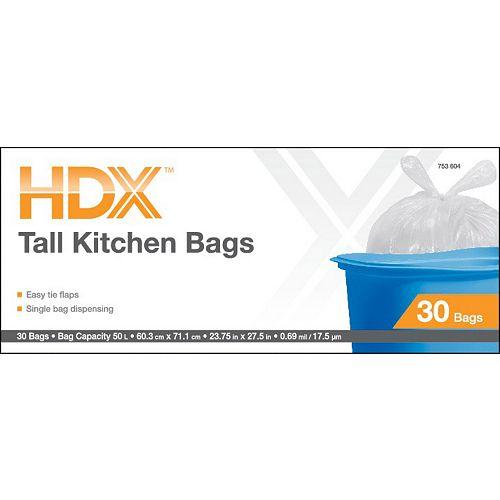 Les sacs de cuisine blancs  50L à rabats