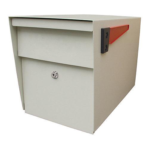 Boîte aux lettres blanche avec verrouillage de sécurité en bordure de la rue