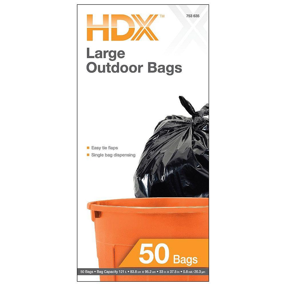 HDX Les sacs à ordures de jardin 121L à rabats