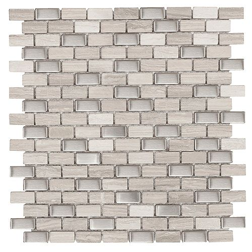 Brick Boulevard 11- 1/4-inch x 12-inch x 8 mm Stone Stainless Mosaic Wall Tile