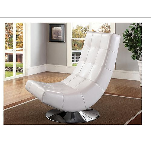 Electra Contemporary Club Faux Leather Accent Chair in White with Solid Pattern