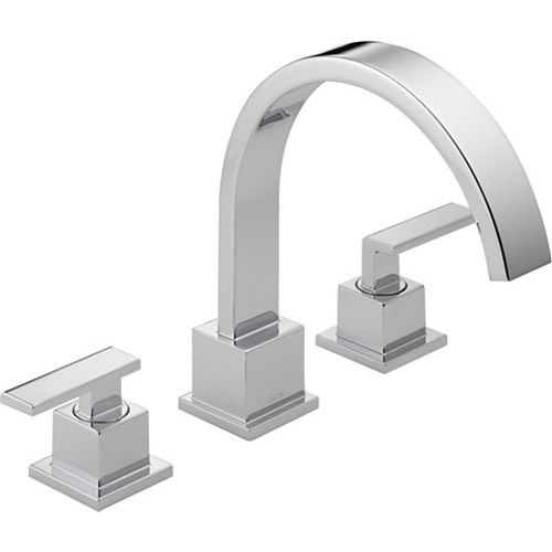 Vero 2-Handle Roman Bath Faucet Only in Chrome Finish (Valve Sold Separately)