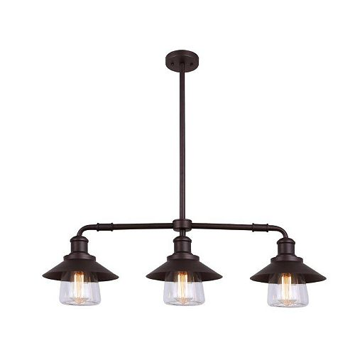 Canarm INDI 3 Light Clear Glass ORB Pendant in Oil-Rubbed Bronze