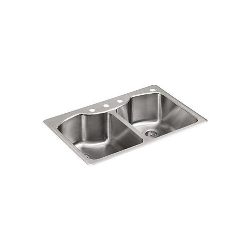 """Octave (TM) 33 « x 22 » x 9-5/16 """"double égal haut-monter évier de cuisine en acier inoxydable avec perçage de robinet à quatre trous"""