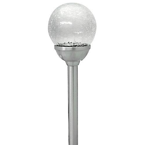 Lampe d'allée solaire avec boule de vitre craquelée - Acier inoxydable