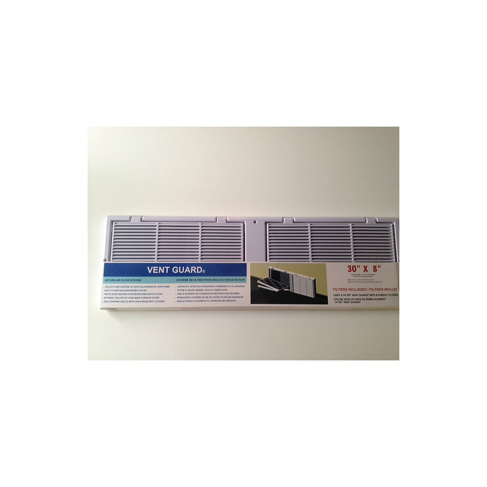 Vent Guard 30 X 8 Return Air Grille With Filters