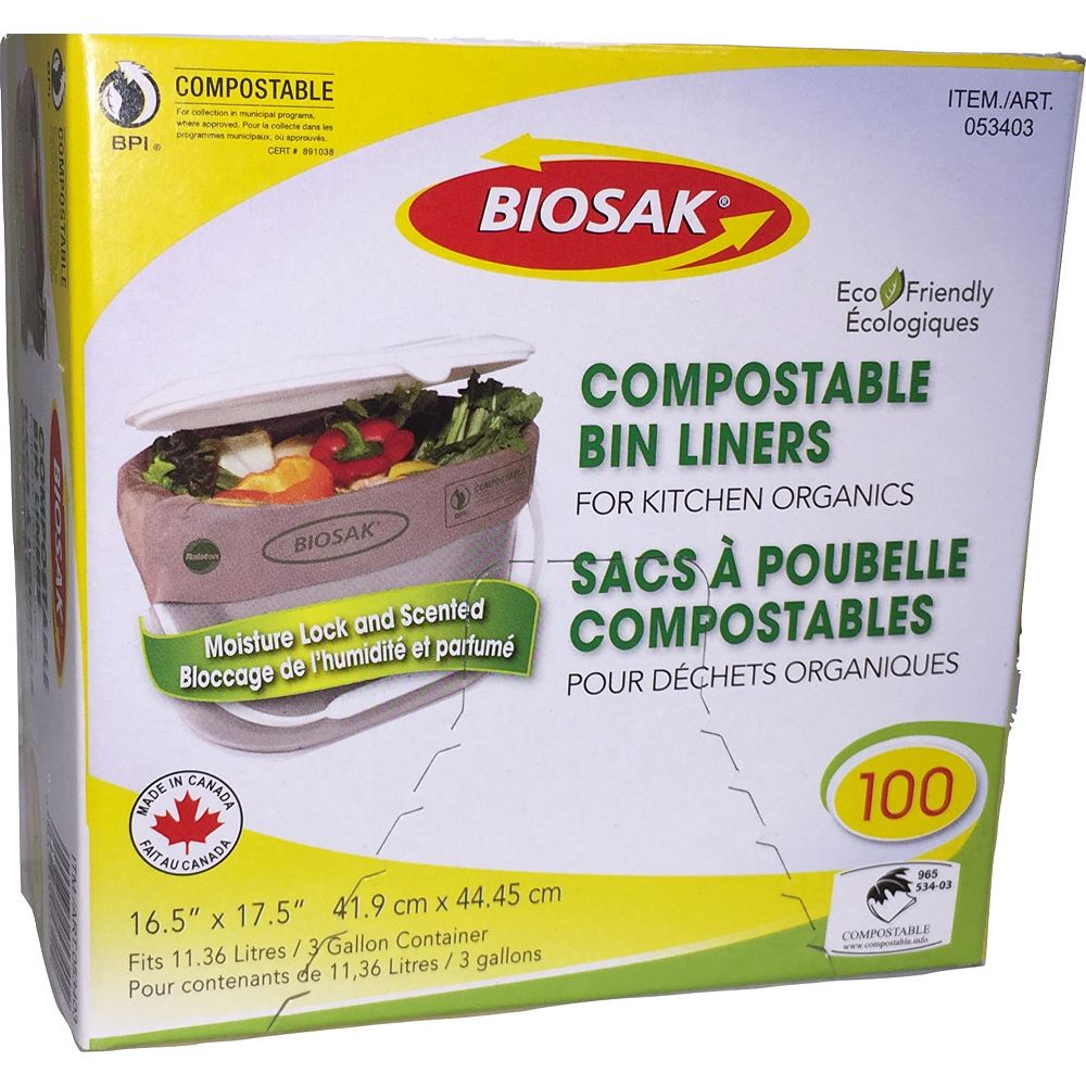 Biosak 100 Compostable Bags for Kitchen Organics