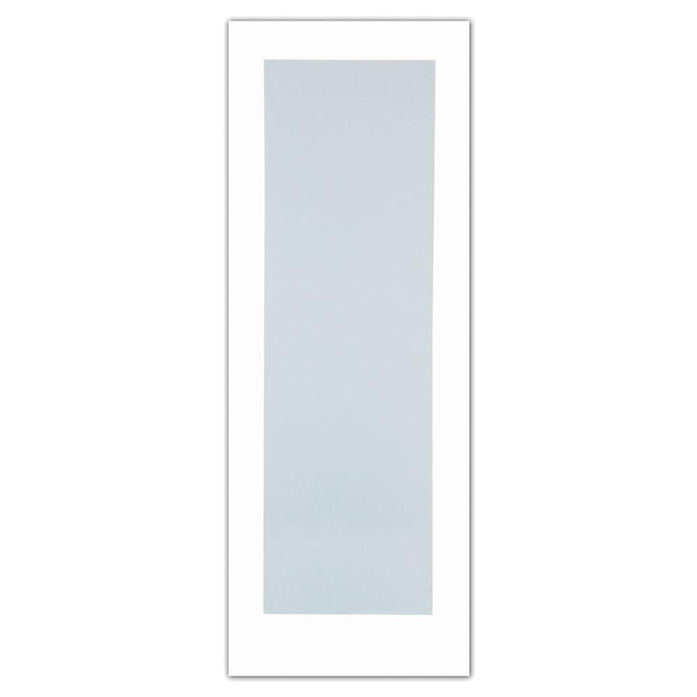 Milette 30x80 Porte de style Art Déco 1 verre Laminé Blanc en Apprêt blanc