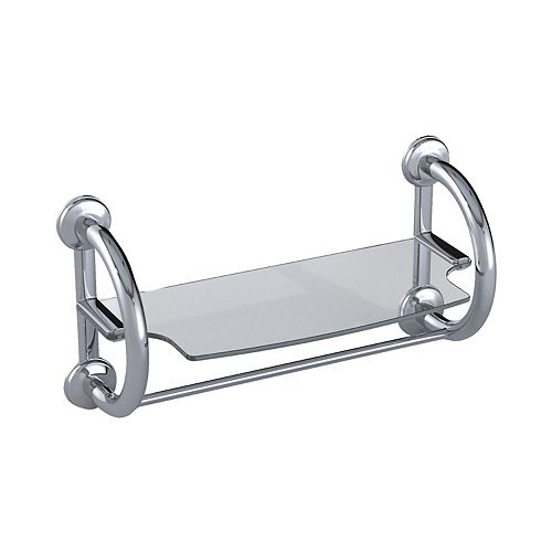2-in-1 Grab Bars Towel Shelf Polished Chrome