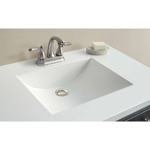 37-Inch W x 22-Inch D Cultured Marble Vanity Top in White with Wave Bowl