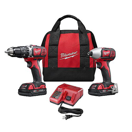 M18 18V Lithium-Ion Cordless Hammer Drill/Impact Driver Combo Kit (2-Tool) with (2) 1.5Ah Batteries, Charger, Tool Bag