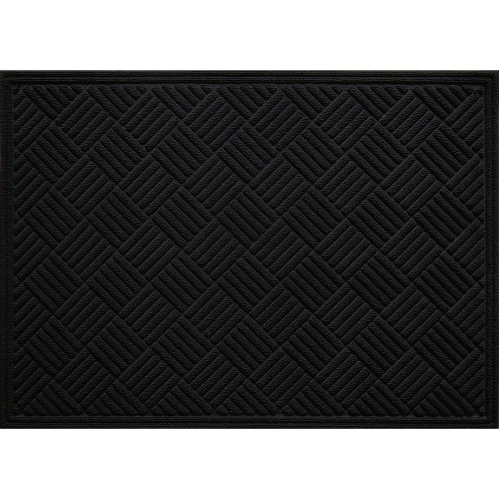 TrafficMASTER Paillasson d'intérieur/extérieur Contours, 3 pi x 4 pi, rectangulaire, noir