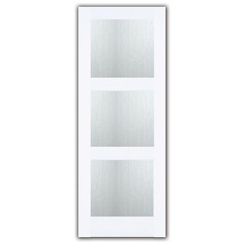 24x80 Porte française à 3 verres Aqui de style shaker en apprêt blanc