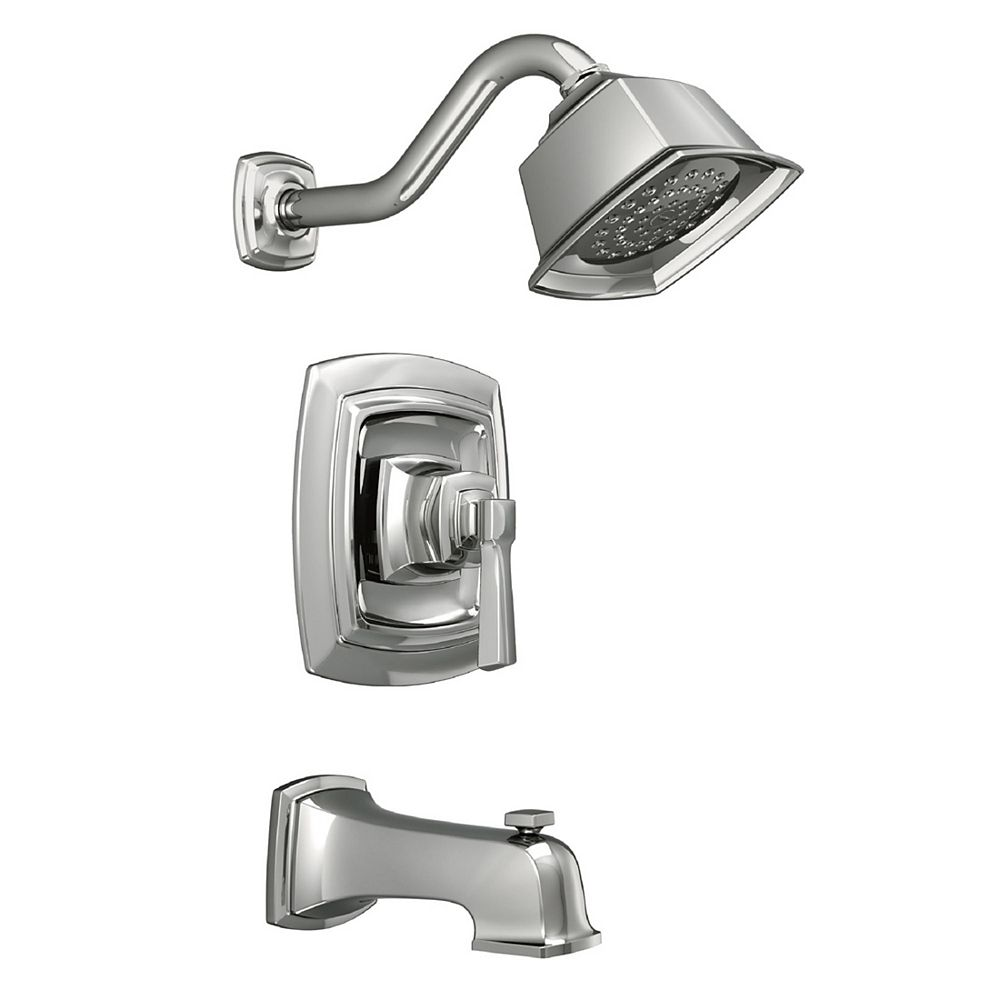 MOEN Boardwalk Single Hande, Wall Mount, Square 1-Spray Tub and Shower Faucet in Chrome