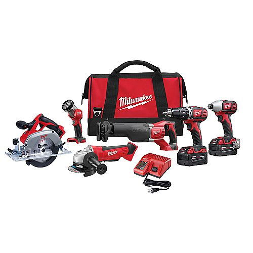 M18 18V Lithium-Ion Cordless Combo Tool Kit (6-Tool) w/(2) 3.0 Ah Batteries, (1) Charger, (1) Tool Bag
