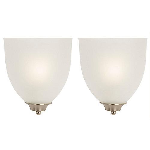 Applique, nickel brossé, une ampoule 60W max., diffuseur blanc opalescent (paquet de 2)