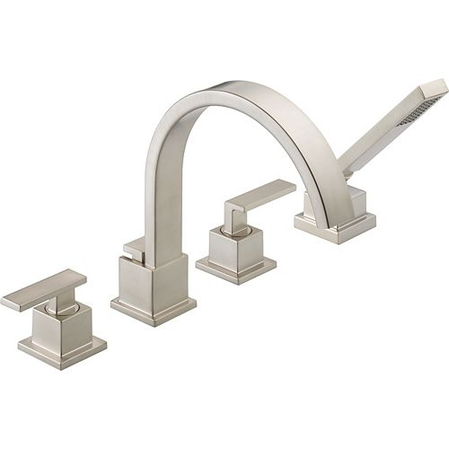 Vero 2-Handle Roman Bath Faucet with Hand Shower in Stainless Finish (Valve Sold Separately)