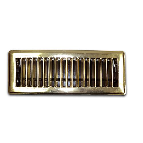 3 Inch x 10 Inch Brass Floor Register (6-Pack)