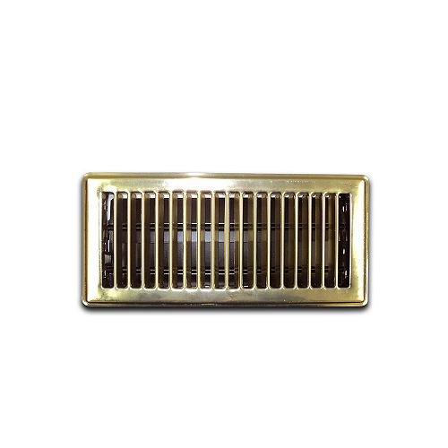 4 Inch x 10 Inch Brass Floor Register (6-Pack)