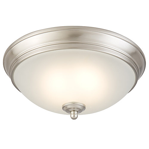 11-inch Brushed Nickel Integrated LED Flushmount Ceiling Light w/ Frosted Glass Shade - ENERGY STAR