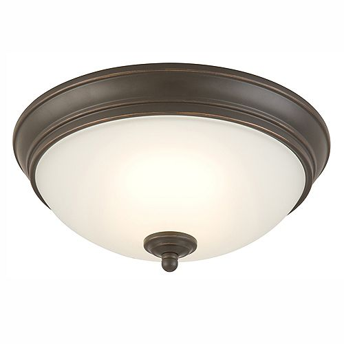 HDG 11-inch Oil-Rubbed Bronze Integrated LED Flushmount Light with Frosted Glass Shade - ENERGY STAR