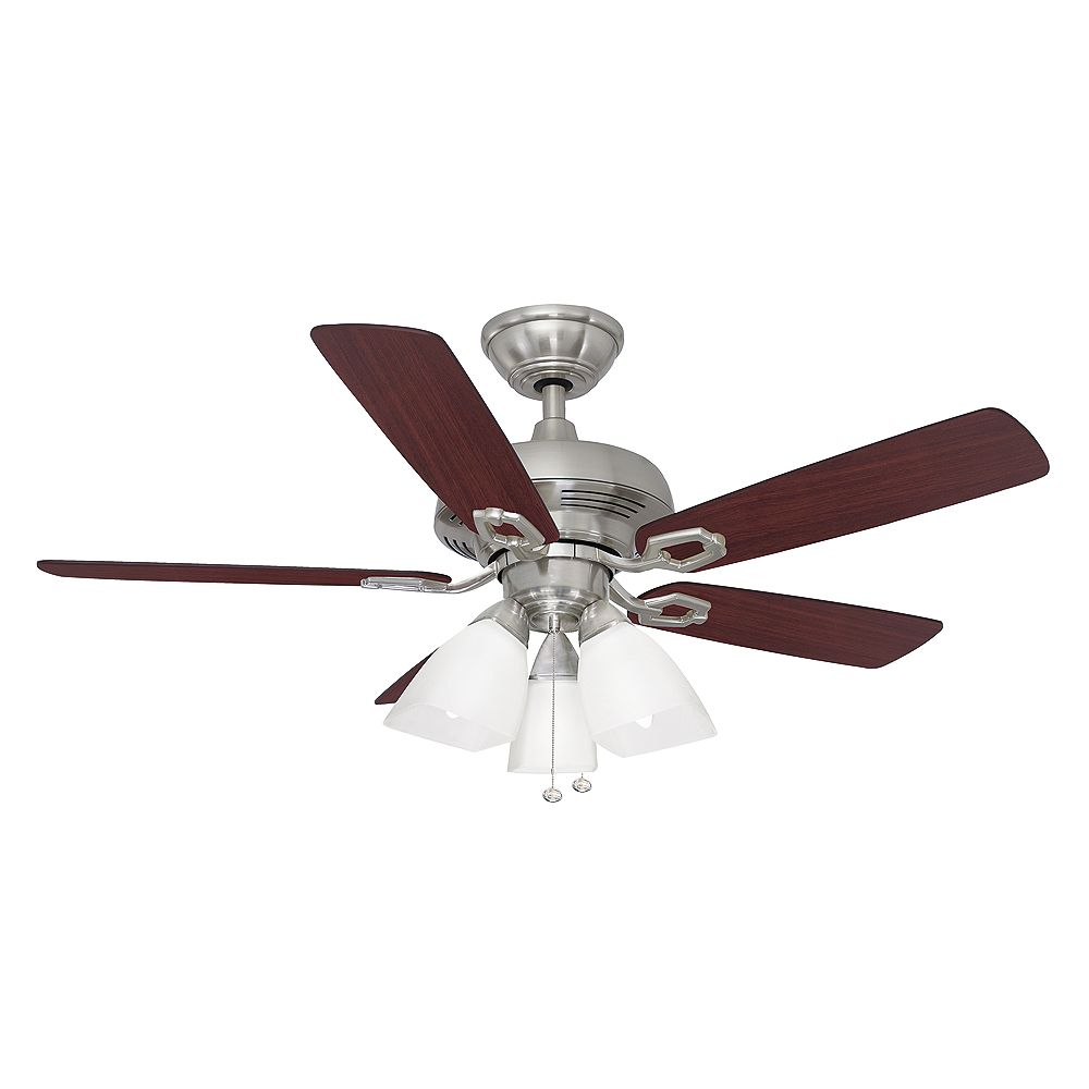 Hampton Bay St David 44 Inch 3 Light Brushed Nickel Indoor Ceiling Fan With Light Kit And The Home Depot Canada