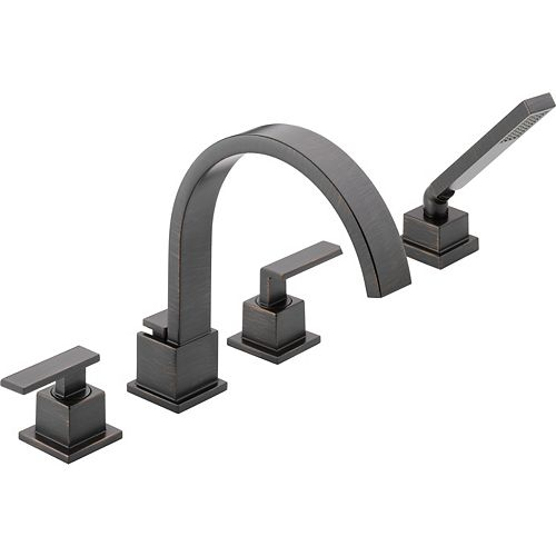 Vero 2-Handle Roman Bath Faucet with Hand Shower in Venetian Bronze Finish (Valve Sold Separately)