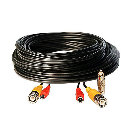 50 pieds BNC Vidéo / 2.1mm câble de rallonge d'alimentation DC - Black