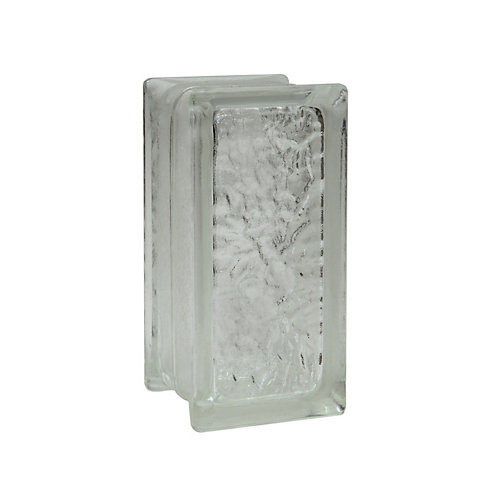 4 Inch x 8 Inch x 4 Inch Glass Block IceScapes Pattern, case of 12