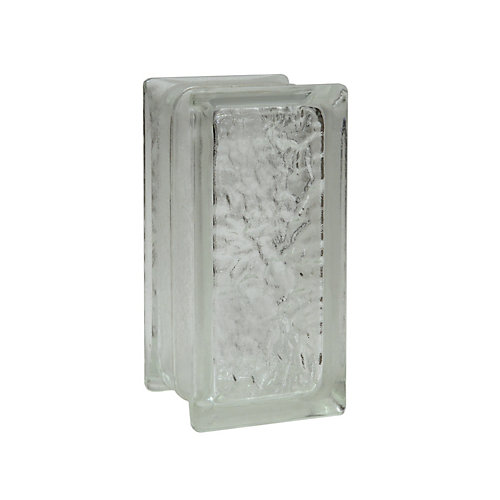 4 Inch x 8 Inch x 3 Inch Glass Block IceScapes Thinline Pattern, case of 16
