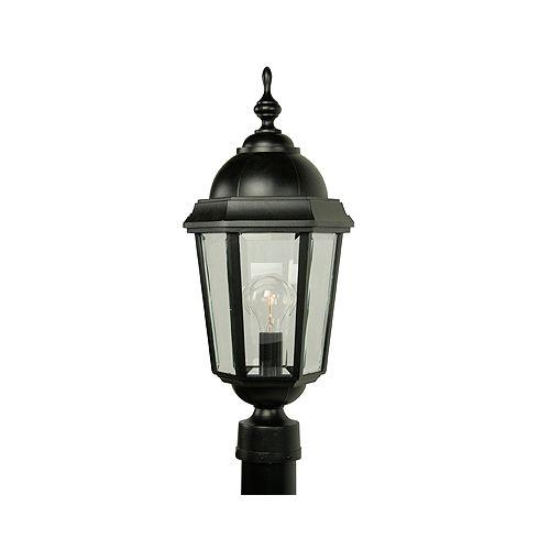 Vintage II, grand, luminaire sur poteau,  panneaux de verre biseauté clair, noir (poteau non-inclus)