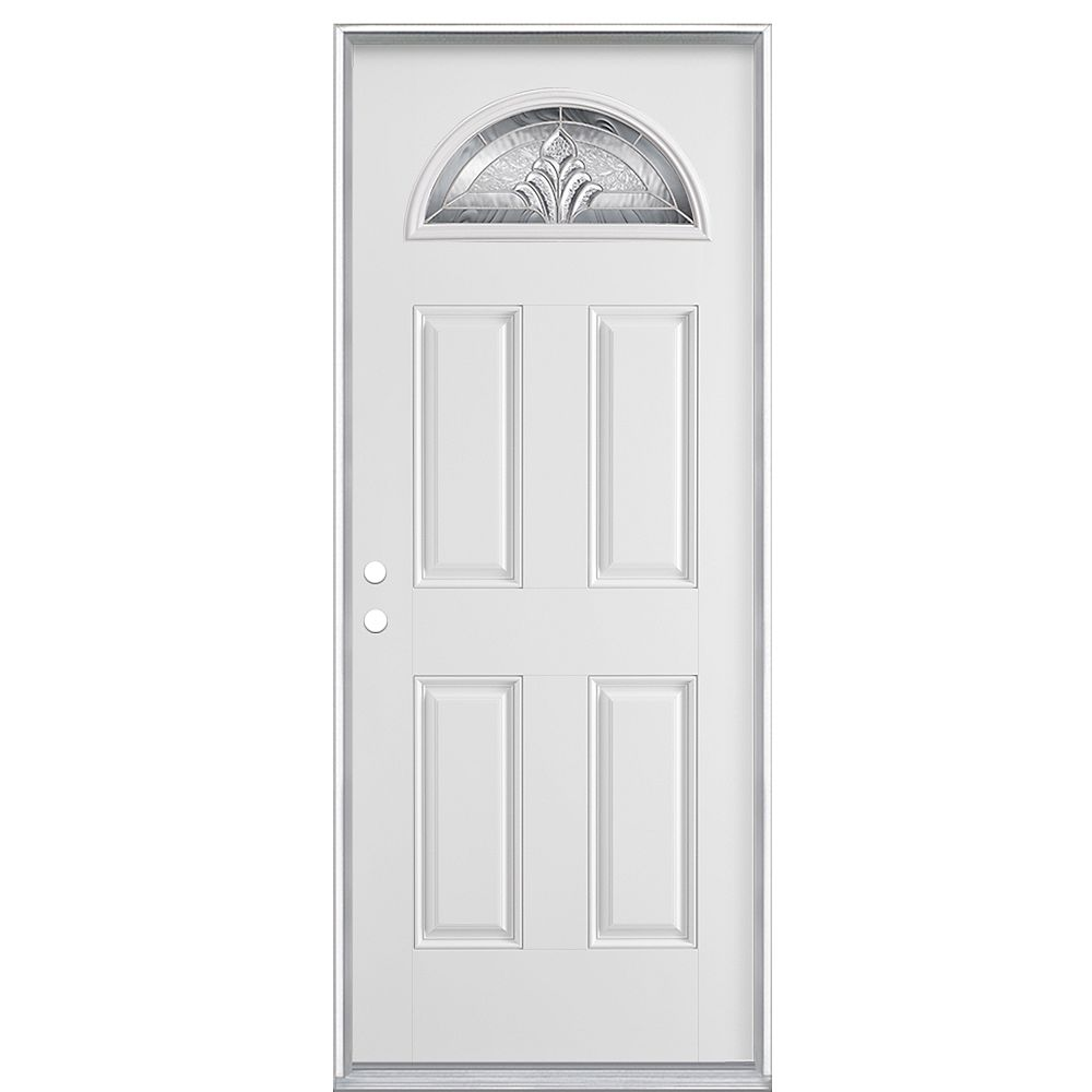Masonite 32-inch x 4 9/16-inch Providence Fan Lite Smooth Fibreglass Left Hand Door