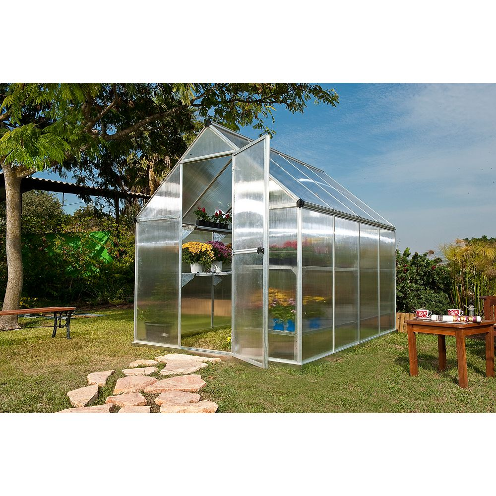 Palram Deluxe 6 ft. x 8 ft. Twin Wall Silver Greenhouse