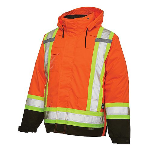Manteau isolé 5dans1 haute visibilité avec bandes réfléchissantes— orange g