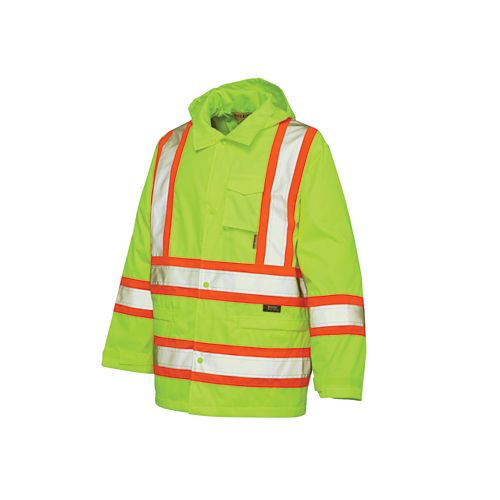 Hi-Vis Rain Jacket With Safety Stripes Yellow/Green Large