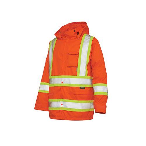 Hi-Vis Rain Jacket With Safety Stripes Fluorescent Orange Large