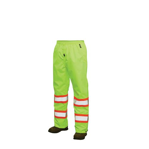 Hi-Vis Rain Pant With Safety Stripes Yellow/Green Small